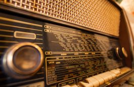 Retro old radio, vintage radio scale, closeup.