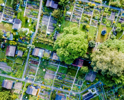 Aerial view of allotment in Switzerland