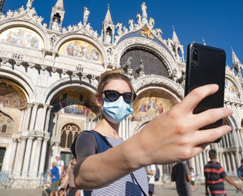 A tourist during the coronavirus pandemic, covid-19. A young wom
