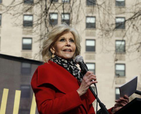 WASHINGTON, DC - DECEMBER 06: Jane Fonda demonstrates in Franklin Square Park during