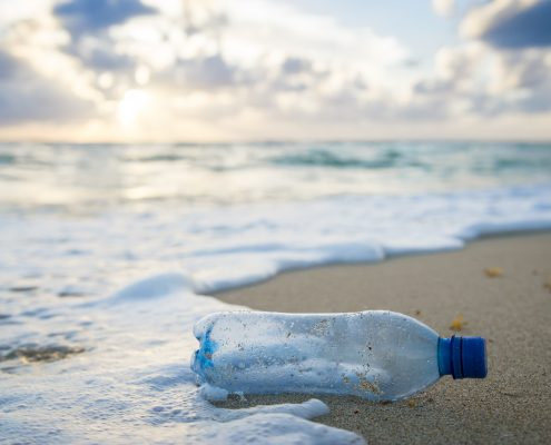 Used plastic water bottle washed up on the shore of a tropical b